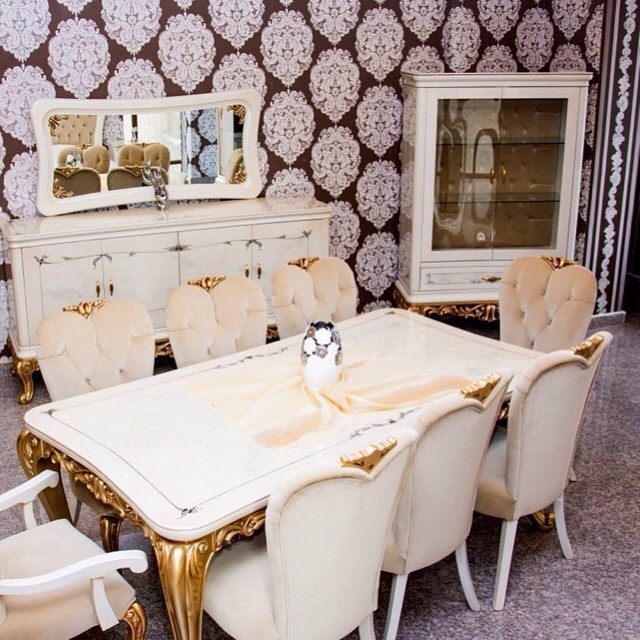 White and Gold Dining Set
